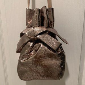 Jimmy Choo Eve Nude Metallic Lambskin Bucket Bag